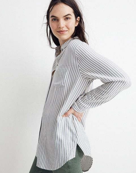 268ab0adc16 Tunic Shirt in Dalton Stripe in pale parchment emily stripe image 2