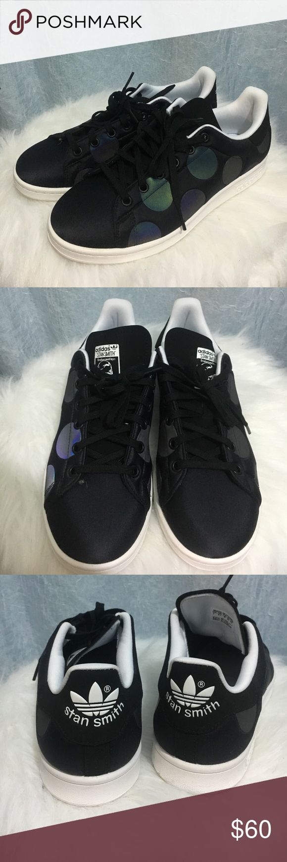 Iridescent Polka Dot Stan Smiths Super awesome Adidas Stan Smiths in black neoprene with reflective polka dots. Worn once, in great condition and super comfortable. Does not come with the box. Size Womens 9/Mens 7. adidas Shoes Sneakers