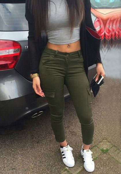 A casual outfit doesn't need to be boring. It should be edgy and chic, like these army green cargo skinny pants.