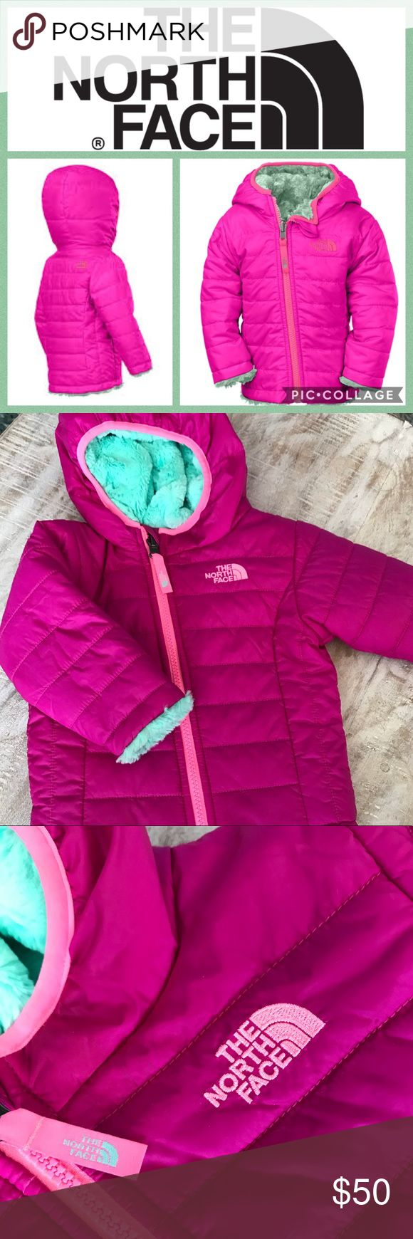 ❄️KIDS!! North Face Infant Mossbud Swirl Jacket A reversible jacket that doubles the options for everyday protection, featuring a quilted taffeta exterior with lightweight insulation that reverses to reveal soft, Silken fleece. Taffeta is treated with a DWR (durable water repellent) finish to keep her dry during light rain showers Fixed hood Horizontal quilting on taffeta body Welt hand pockets  Embroidered logo on left chest and back right shoulder of poly/taffeta side and right chest of…