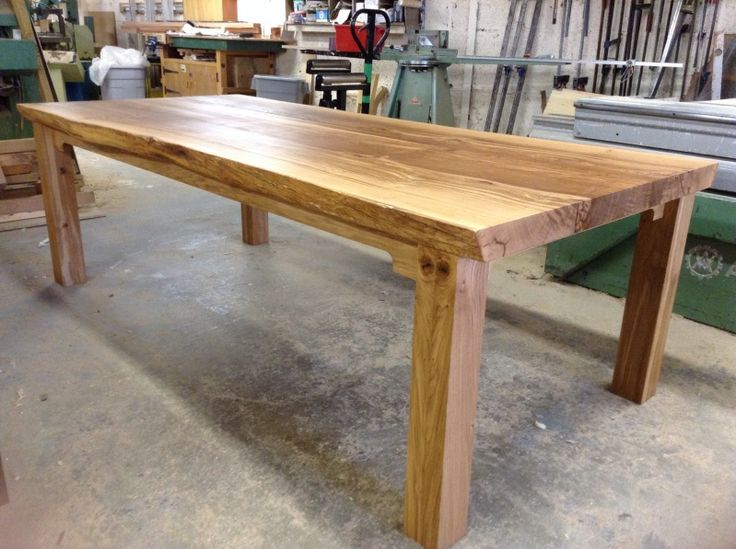 Click here for a beautiful chunky solid oak farmhouse table, hand-built to any size in 6 weeks from TarzanTables.co.uk