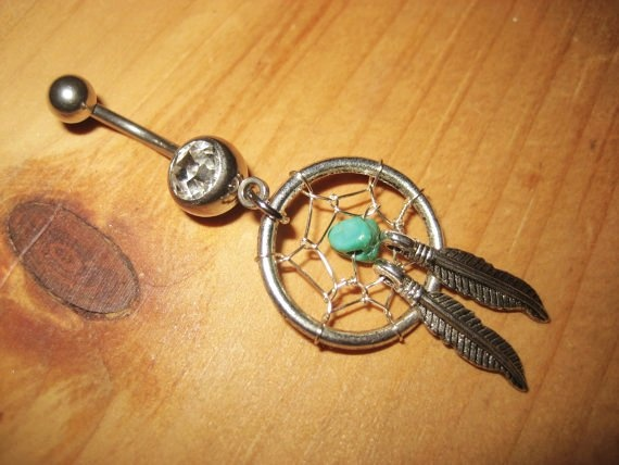 Turquoise Feather Dream Catcher Belly Button Ring Navel Piercing