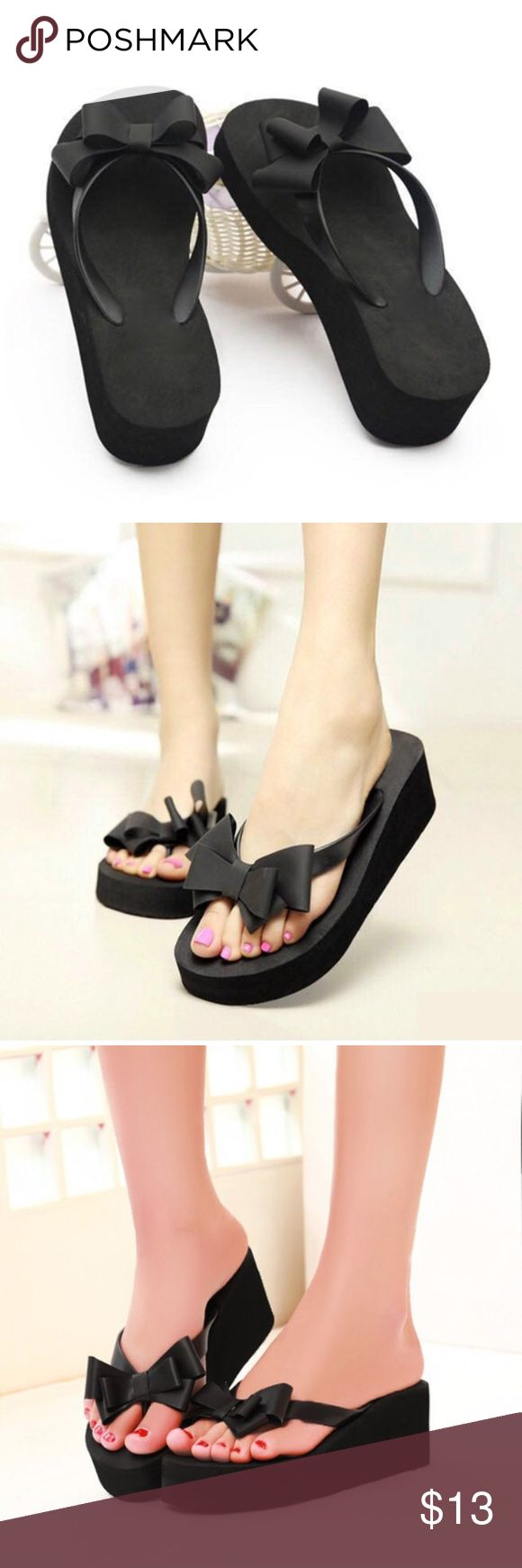 Cute and trendy black wedge w bow flip flops 7 new These cute bow front flip flops are brand new. Asian sizing so may be tagged different. Fit size 7. Exactly as pictured. Shoes Wedges