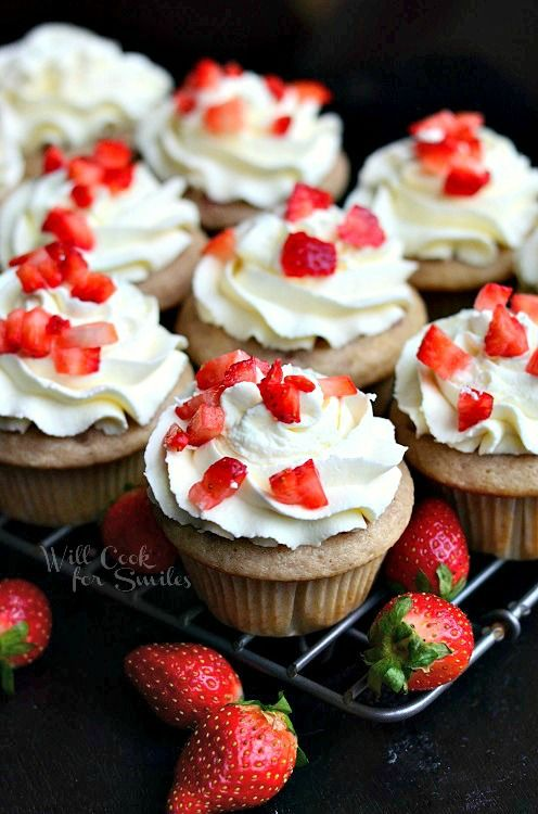 Strawberry Cupcakes with Mascarpone Frosting - Will Cook For Smiles