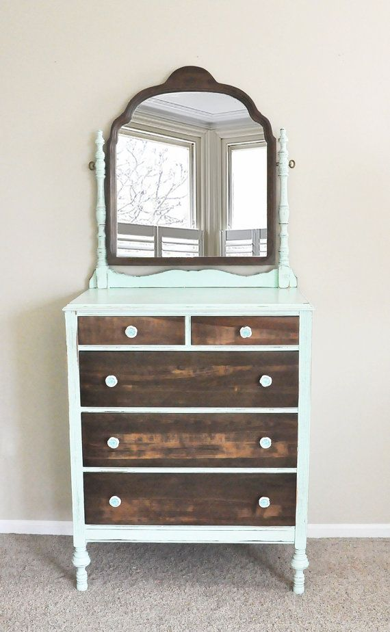 Vintage Dresser With Mirror In Mint Green And Solid Wood By LillyandGraceDesign On Etsy