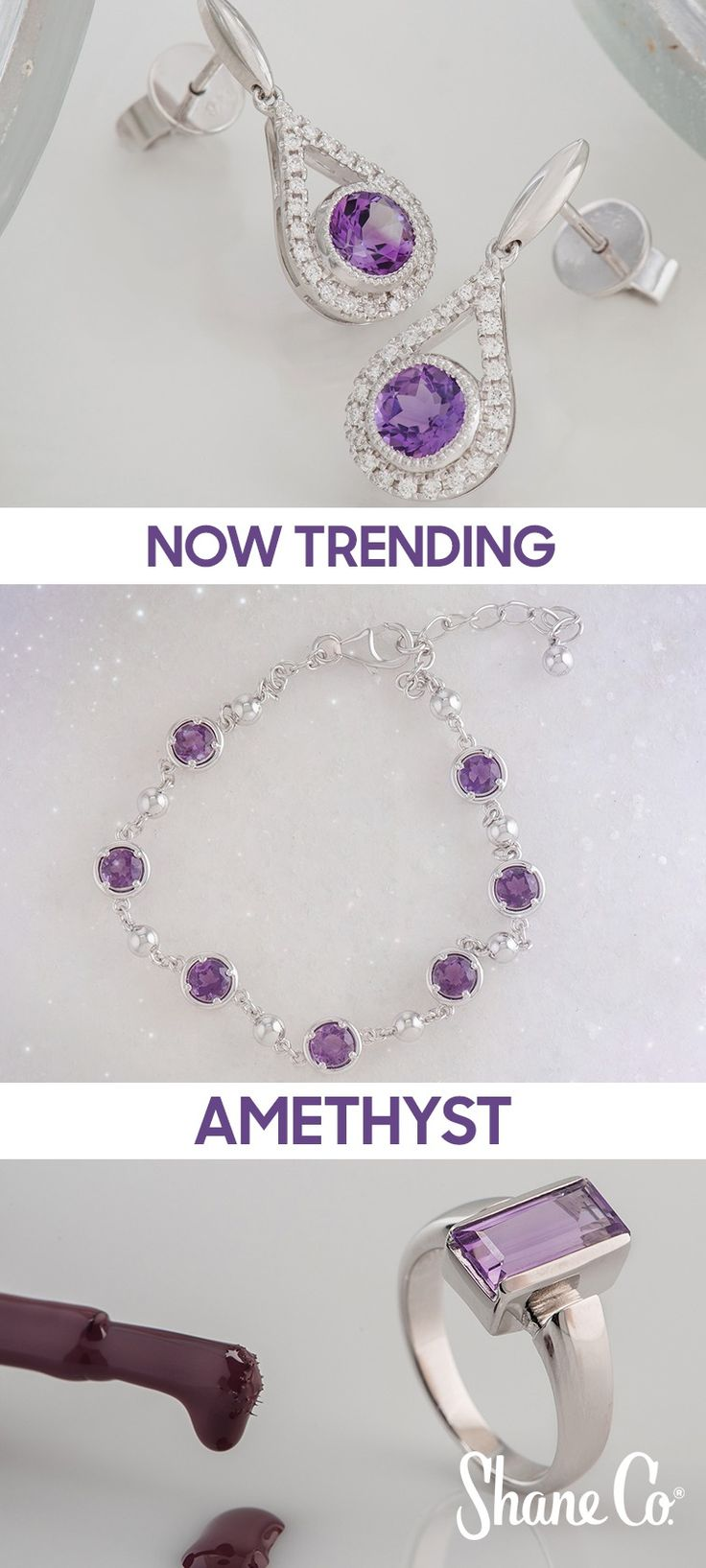 February is the perfect time to add trendy amethyst jewelry to your collection. Shop the many exclusive styles available at Shane Co. Everything ships for free!