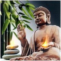 Tableau Toile Cadre LED Déco Zen Bouddha Bambou Colonne Galets