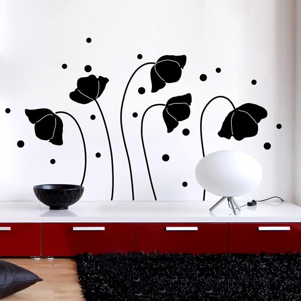 Black Flowers Silhouette wallsticker
