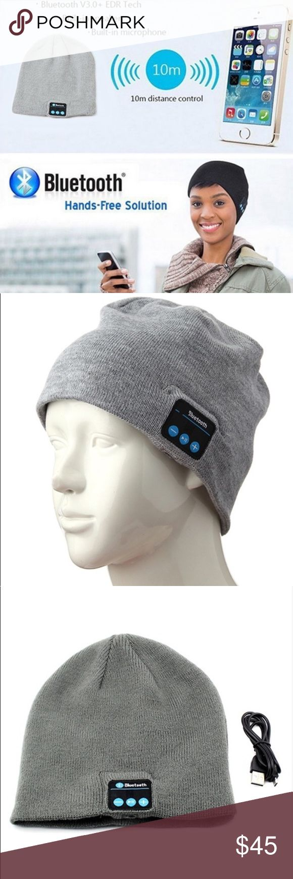 Wireless, Bluetooth beanie hat Wireless Bluetooth smart beanie  Retail price $480 Feature hand free answering phone up via the device Set-in Li-ion chargeable battery, charge via USB Cable, long stand-by time. Specifications  Bluetooth Version: V3.0+EDR Frequency: 2.4026GHz-2.480GHz Transmission distance: 30ft or so Transmission distance of MIC:3 ft Standby time: 60 Hrs Continuous working time:5Hrs Bluetooth name: BT-03S Fits for head circumference 56-62cm Speakers can be taken off to wash…