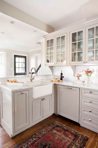 Gray cabinets and farmhouse sink
