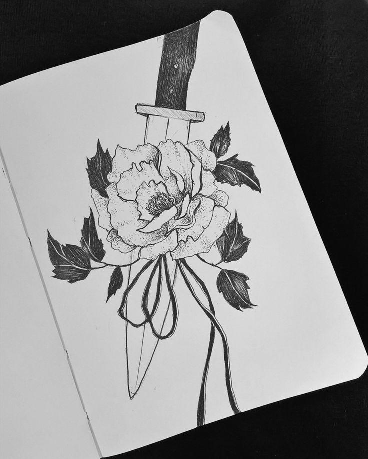 #drawing #pen #illustration #sketch #morning #rose #knife