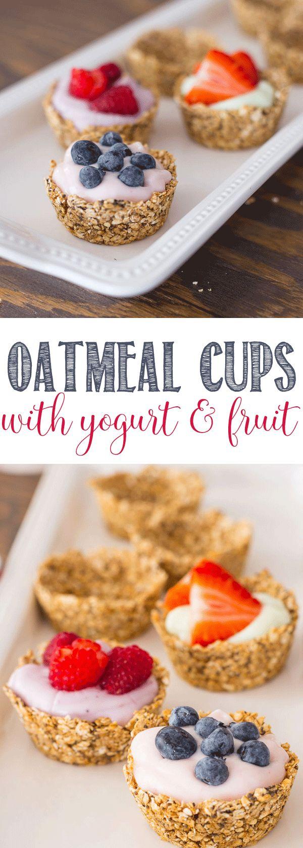 Oatmeal Cups with Yogurt and Fruit via @domesticallyspeaking
