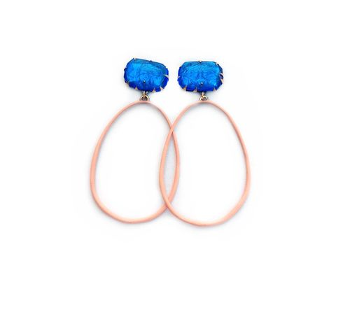 E6 Couppee, Nikki blue gemstone on post with pink oval dangle.jpg