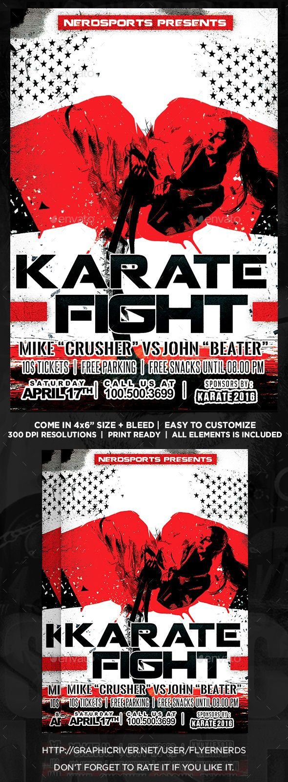 """Karate Fight Sports Flyer by flyernerds Karate Fight Sports Flyer Description :4x6"""" with bleedPrint Ready ( CMYK, 300DPI ) Easy to edit and fully customizable All element"""