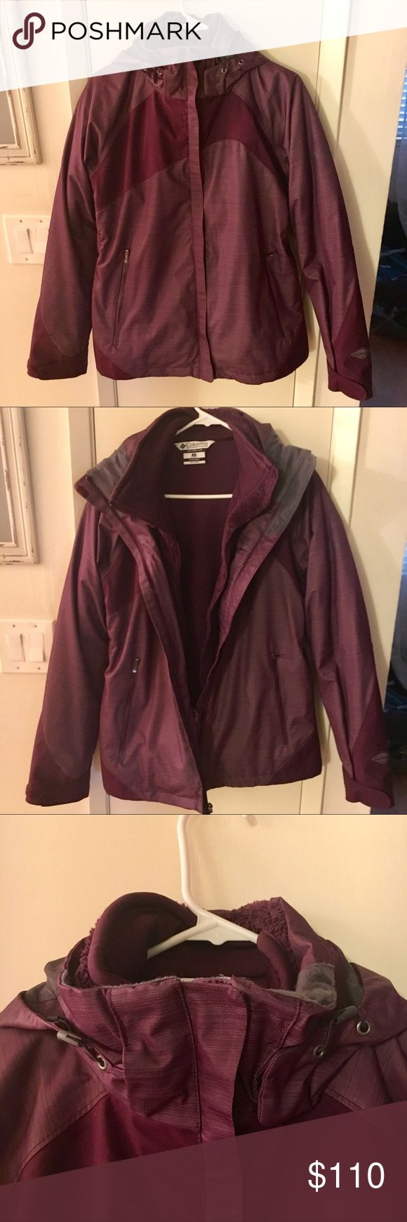 2 in 1 Columbia snow jacket/fleece! Purple 2 in 1 Columbia cold weather jacket! Comes with two jackets! A hard shell windbreaker waterproof lightweight jacket with an inner (&detachable) fleece jacket! The hood can also be zipped off & on! Only worn once or twice! In Great condition!!  I'd be willing to sell just one for a cheaper price if you're only interested in the fleece or the windbreaker outside jacket! Columbia Jackets & Coats Utility Jackets