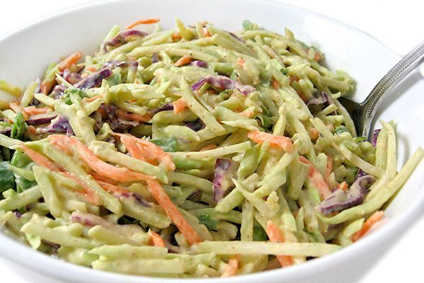 I love all kinds of coleslaw, particularly this flavorful one! Using broccoli slaw is a wonderful alternative to typical cabbage. Such a versatile side dish for fish, beef, chicken, pork, hot dogs, burgers and more. You'll love how quick it is to make. Eachserving has just 38 calories, 1 gra…