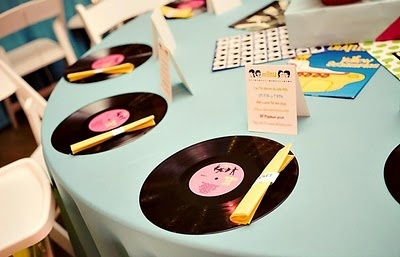 50's party, record placemats