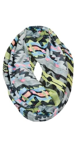 "This killer print will make any outfit complete. It's lightweight and feminine. An infinity scarf is one continuous loop that can double around.  Infinity scarf Lightweight fabric One size 36"" wide Infinity loop is 68"" around 100% Viscose External Brand - Silver Icing Approved! $19.95"