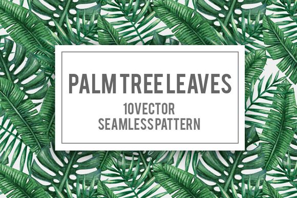 Palm tree leaves seamless pattern by Karina Cornelius on @creativemarket