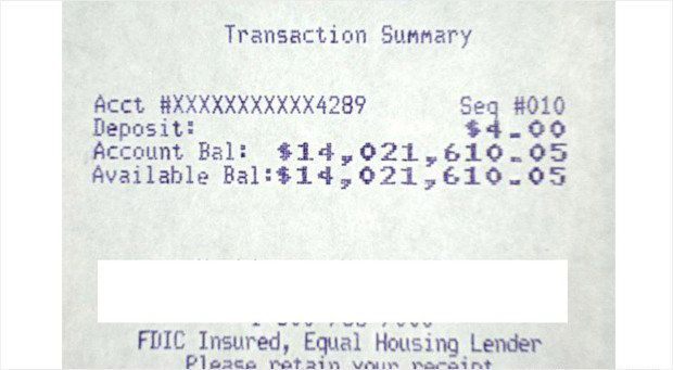 Security Compass CEO Nish Bhalla kept this ATM receipt to illustrate the $14 million his firm fraudulently transferred into a bank account it created. (Courtesy: Security Compass)