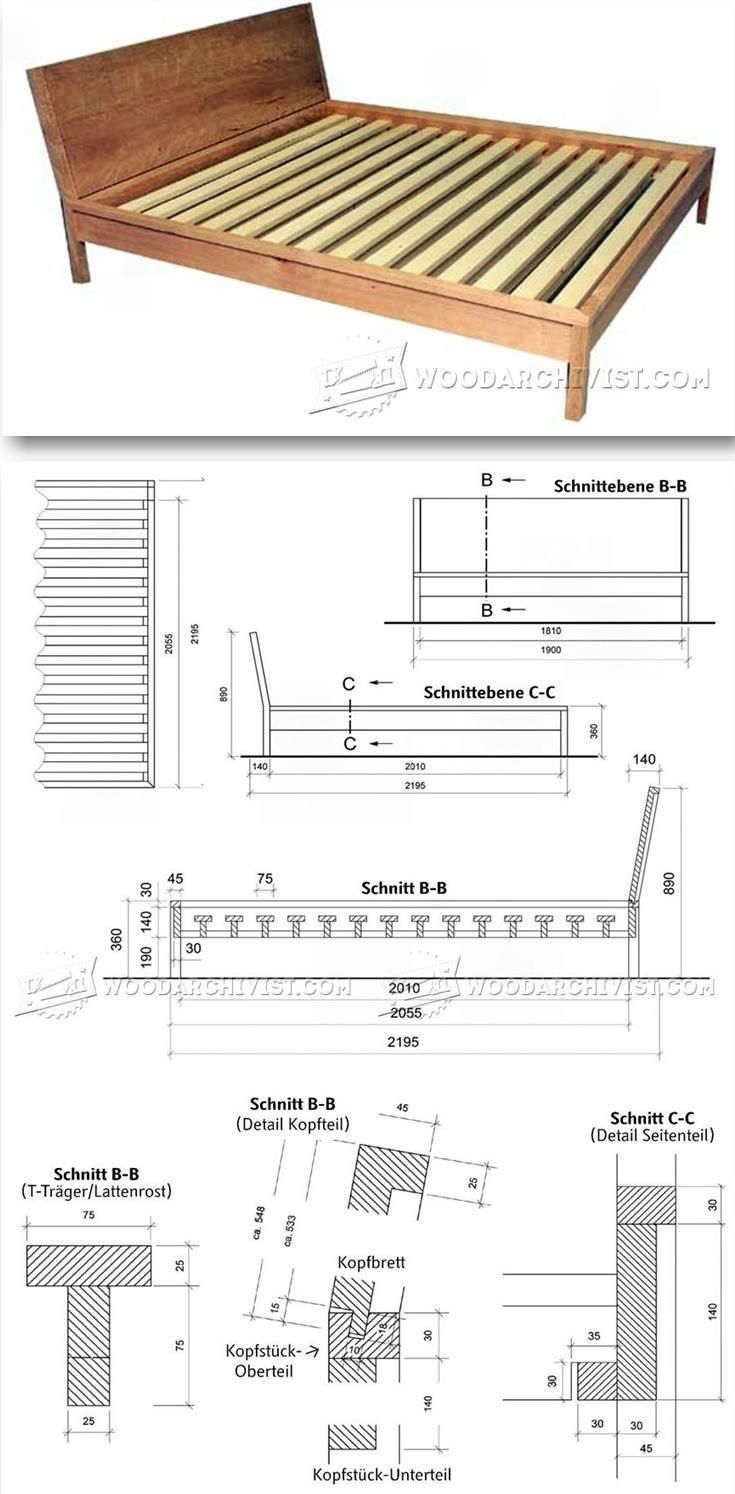 Scandinavia queen size solid bamboo wood platform bed 12924301 - Diy Bed Frame Furniture Plans And Projects Woodarchivist Com