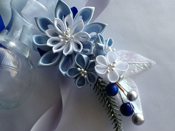 Corsage  Baby Blue Light Blue White Kanzashi by LihiniCreations, $28.00