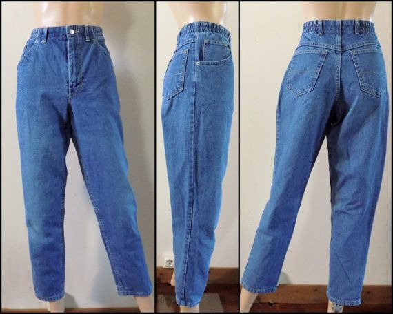 "Vtg 80s Marks and Spencers jeans mom pant jeans tapered leg high waist 80s jeans 29/30"" waist"