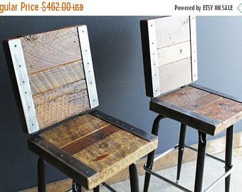 Limited Time Sale 10% OFF 2 Restaurant Bar Stools with backs made with old reclaimed barn wood