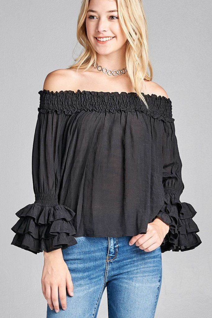 32a866c468dab Ladies fashion long sleeve w ruffle off the shoulder woven top in ...