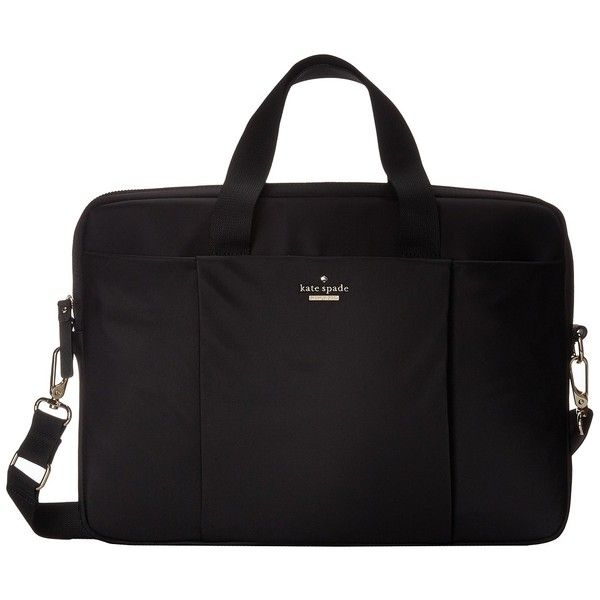 Kate Spade New York Classic Nylon Laptop Case 15 (Black) Computer Bags ($151) ❤ liked on Polyvore featuring bags, black, laptop bags, flat bags, strap bag, zip top bag and kate spade bags