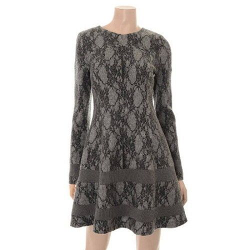 """""""Plastic Island"""" Lace Design Fit and Flare Dress for F w Asian Size """"M"""" Charcoal 