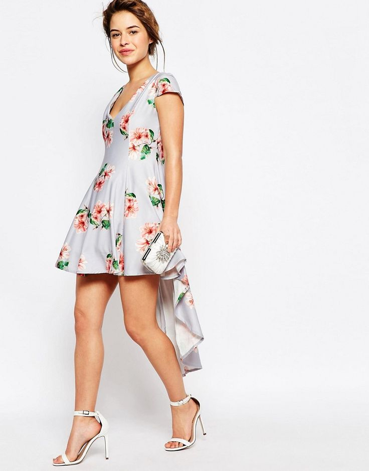 Image 4 ofTrue Decadence Petite Mini Prom Dress in Allover Floral With High Low Hem