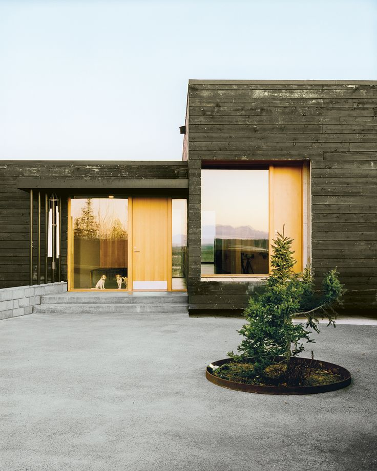 This one really resonates with me. Modernist L-shaped Charred Cedar Cabin in Alaska as seen on Dwell.com