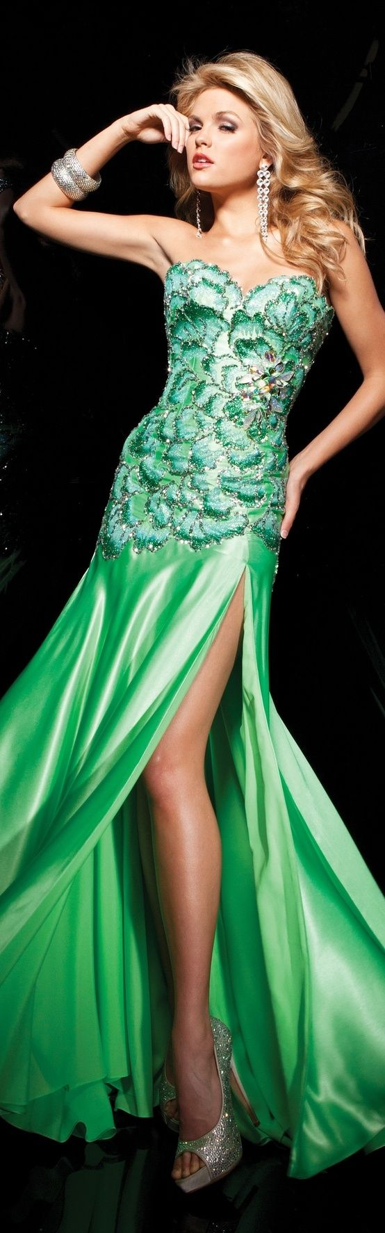 Tony B couture means gown green