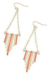 Coral & Gold Dangle Bar Earrings