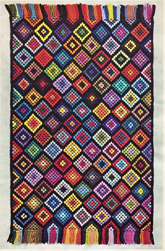 60s Afghan Needlepoint Rug Pdf Pattern By Illkniterate On Etsy 3 00 The Pretty Things Pinterest And Embroidery
