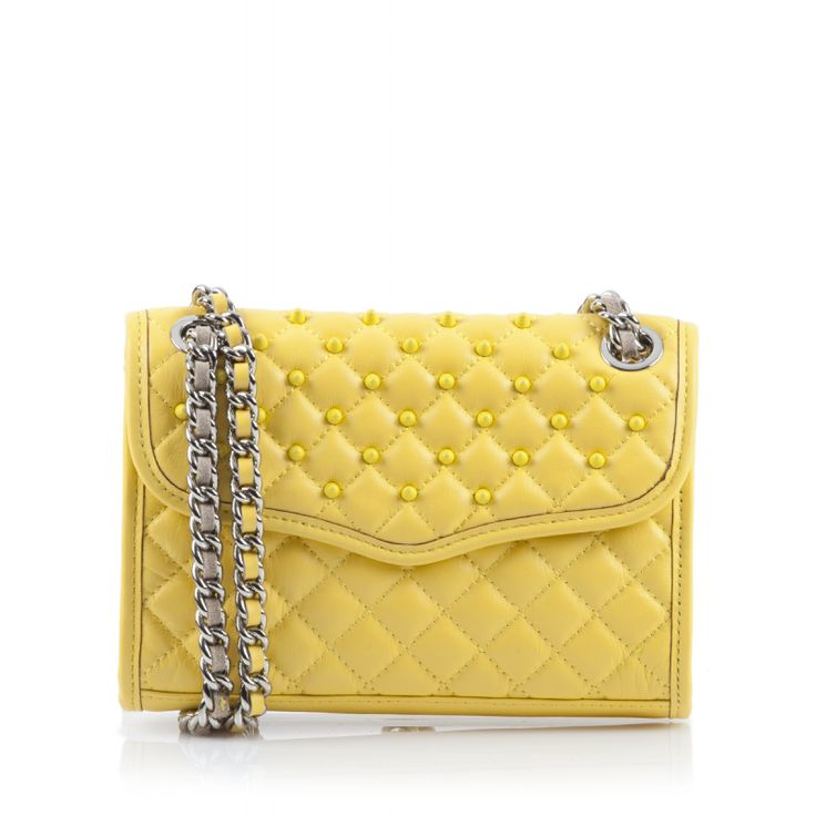 Rebecca Minkoff, Quilted Mini Affair with Studs, Banana