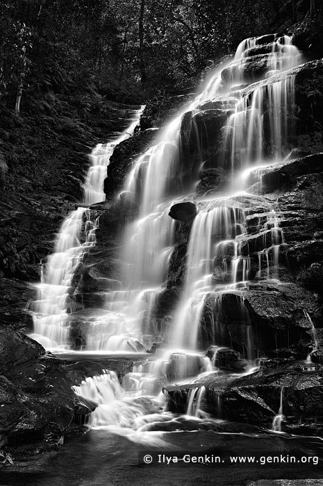 how to get waterfall black and white