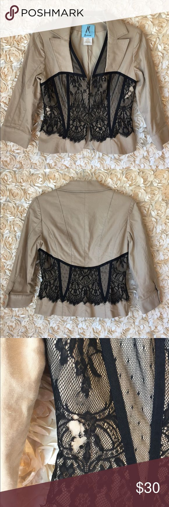 Guess - Marciano Jacket with Lace Guess Marciano Jacket. Beige with Black Lace. Size 6. There are two tears in the lace that you could mend with a few stitches. Guess by Marciano Jackets & Coats Blazers