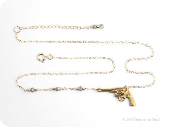 Gold Filled / Gun Pistol Charm Necklace / by crimsonandfinch, €29.50