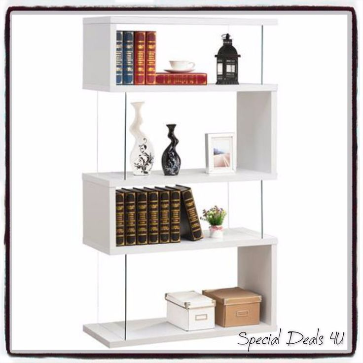 Contemporary Glass Bookcase Modern Bookshelf Storage Stand Shelf Furniture Case #Contemporary