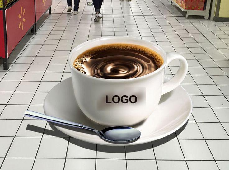 Décoration événementielle animation restaurant, magasin - Revêtement sol trompe l'œil 3d - Une tasse de café