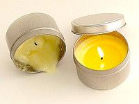 SOY MASSAGE CANDLE - This soy wax candle comes in a convenient sealable metal container available with essential oils with a choice of 36 scents. The wick burns just enough to create a large enough melt pool for you to use. Burn time = 30+ hours.