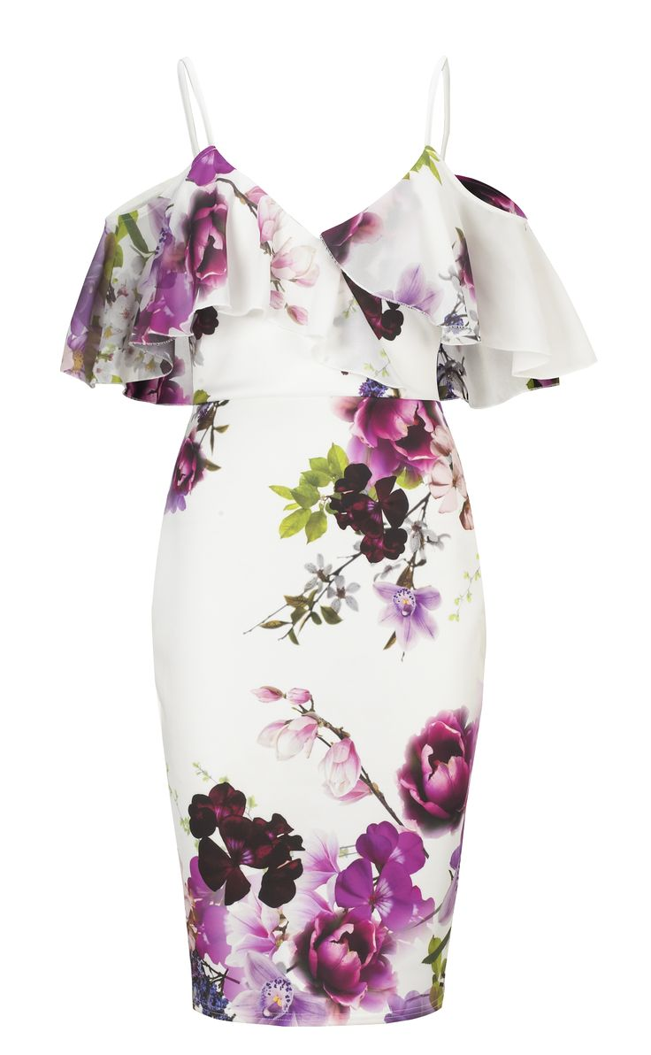 Jessica Wright Avril Floral Multicolour Cold Shoulder Bodycon Dress £65.00 http://www.sistaglam.co.uk/jessica-wright-dresses/jessica-wright-avril-floral-multicolour-cold-shoulder-bodycon-dress-1769