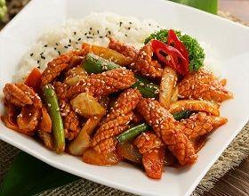 Korean Food   Ojinguh Dupbop   Spicy Squid Over Rice