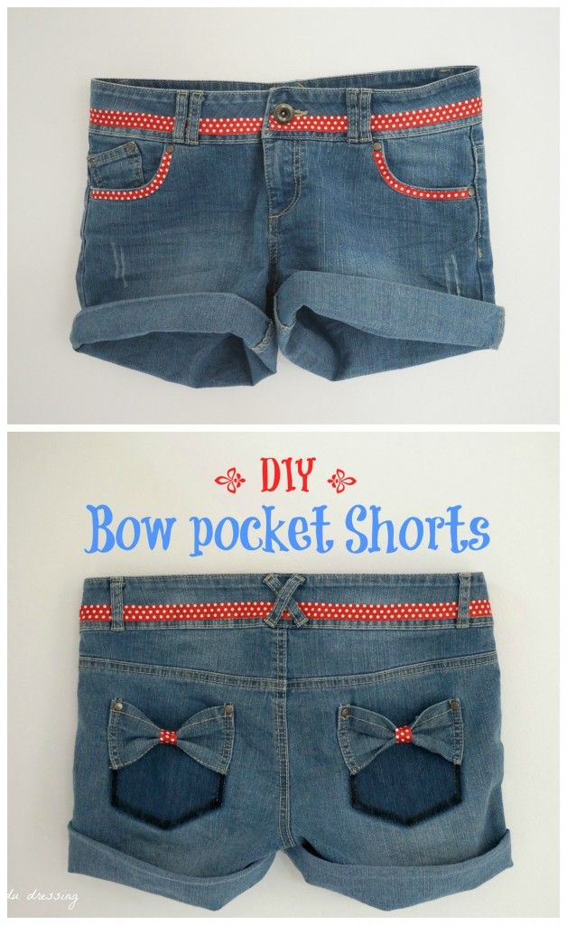 diy tutorial jeans bow pocket shorts. Would be super cute to mix with an American themed pair of shorts