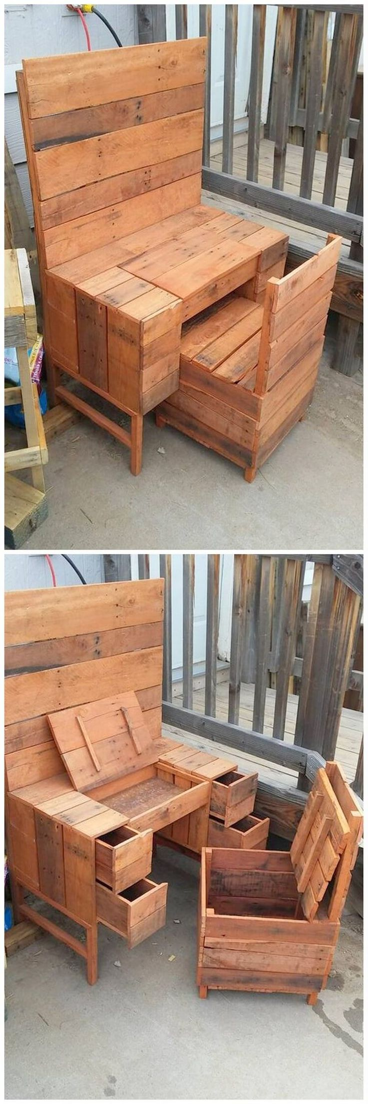This very next interesting recycling idea of wood pallet is taking you into the creative designed pallet table desk and chair. In both table and chair designs, you will encounter the storage capacity box that is its unique feature to attract you. Side areas of the table are included with drawers.