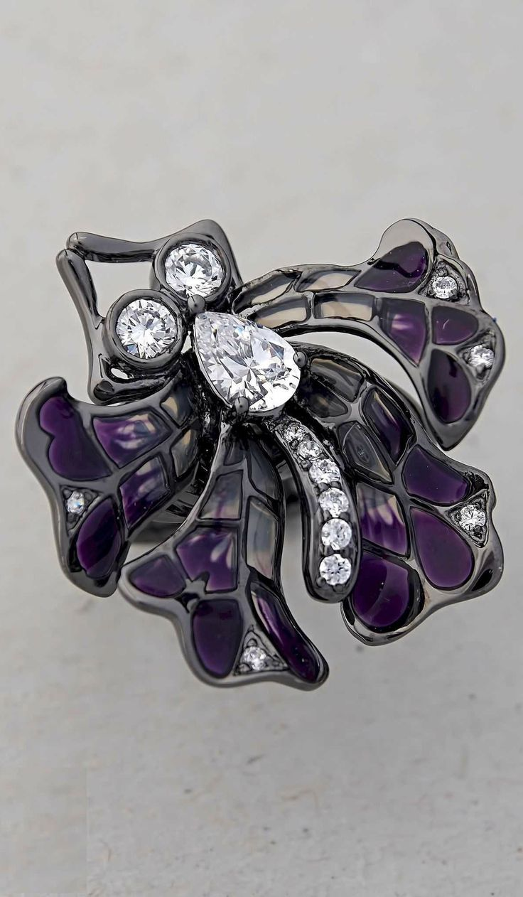 Butterfly Cocktail Ring Large Dark Purple | 925 Sterling Silver Black Oxidised Glass Enamel Cubic Zirconia CZ | Unusual Unique Bold Original Unconventional Contemporary Sophisticated Funky Quirky Statement Jewelry Online | Trezoro Australia Pay With ZipPay