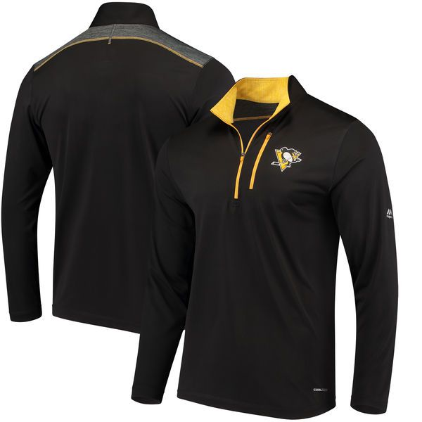 Pittsburgh Penguins Majestic Good Work Half-Zip Pullover Jacket - Black - $59.99