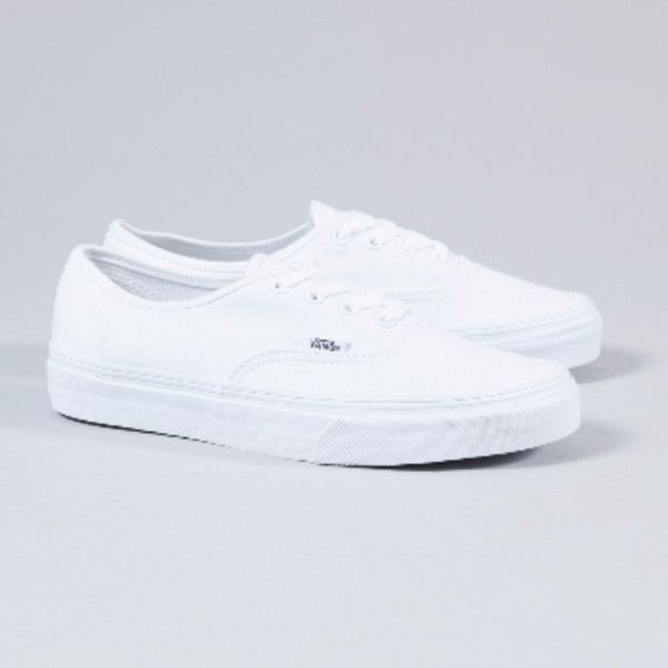 Women's White Authentic Trainers ($56) ❤ liked on Polyvore featuring shoes, sneakers, vans footwear, stitch shoes, white trainers, white shoes and vans shoes